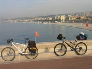 Traversée de l'Europe en VTT, Nice, France